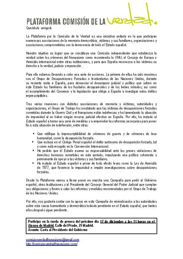la rueda de prensa que celebraremos el próximo 17 de Diciembre, a las 11,30 de la mañana, en el Ateneo de Madrid (c/Prado,21 - Madrid).